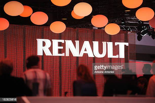 Renault logo is seen at the Paris Auto Show on September 27 2012 in Paris France The Paris Motor Show runs September 29 October 14