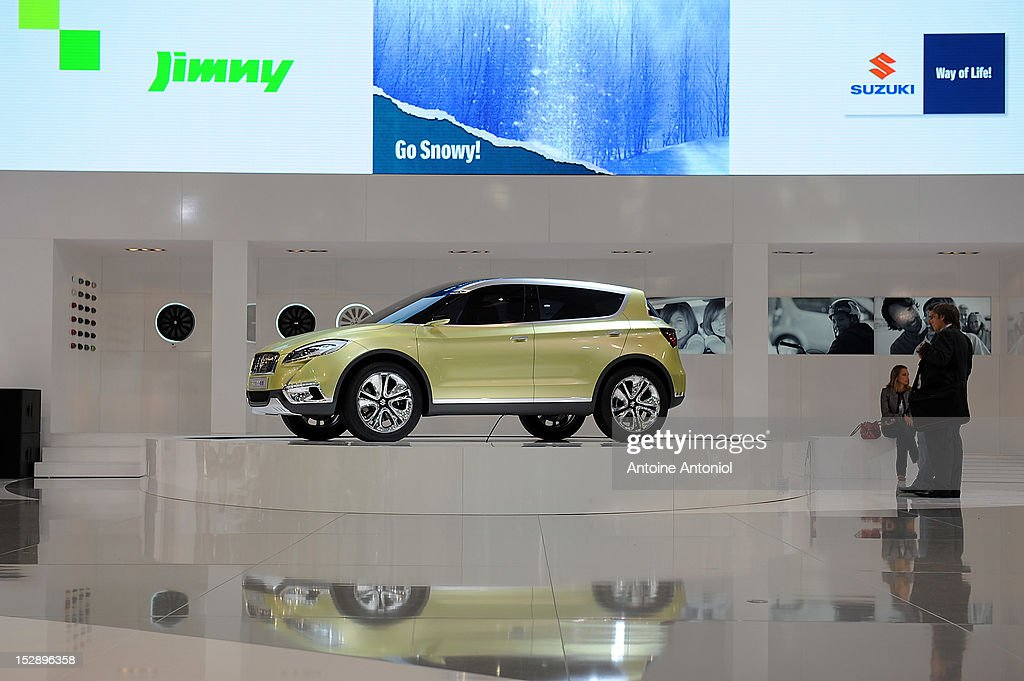 A Suzuki Jimmy car sits on dislay at the Paris Motor Show on September 28, 2012 in Paris, France. The Paris Motor Show runs September 29 - October 14.