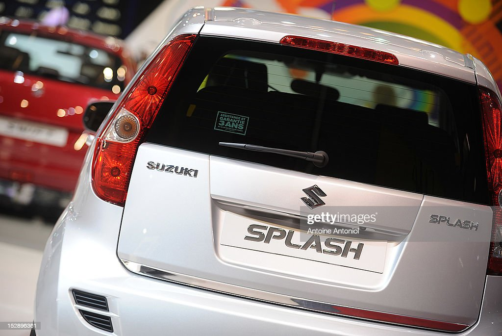 A Suzuki Splash car sits on dislay at the Paris Motor Show on September 28, 2012 in Paris, France. The Paris Motor Show runs September 29 - October 14.