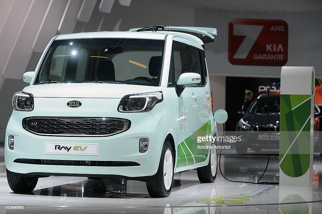 A Kia Ray electric car sits on display at the Paris Motor Show on September 28, 2012 in Paris, France. The Paris Motor Show runs September 29 - October 14.