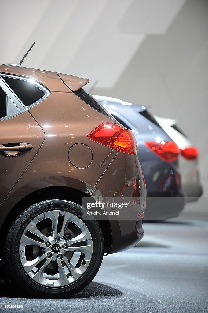 Kia Cee'd cars sit on display at the Paris Motor Show on September 28, 2012 in Paris, France. The Paris Motor Show runs September 29 - October 14.