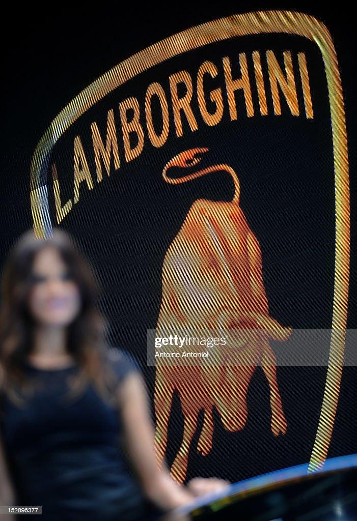 Lamborghini logo is seen at the Paris Motor Show on September 28 2012 in Paris France The Paris Motor Show runs September 29 October 14