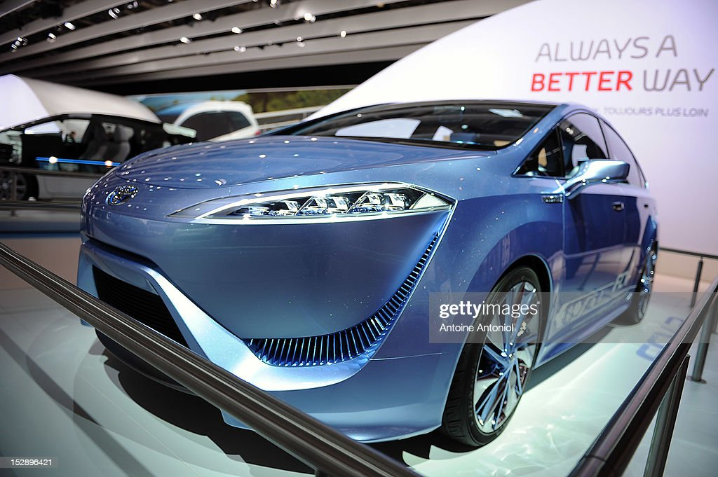 A Toyota FCV-R concept car sits on display at the Paris Motor Show on September 28, 2012 in Paris, France. The Paris Motor Show runs September 29 - October 14. The Paris Motor Show runs September 29 - October 14.
