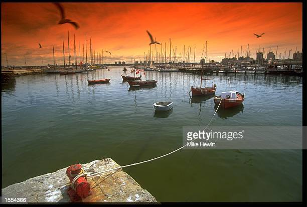 THE PORT OF PUNTA DEL ESTE URUGUAY IS CAPTURED AT SUNSET DURING THE STOP OVER OF THE WHITBREAD ROUND THE WORLD YACHT RACE