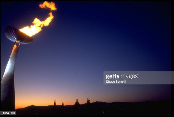 A GENERAL VIEW OF THE OLYMPIC FLAME TAKEN DURING THE 1992 SUMMER OLYMPICS HELD IN BARCELONA IN SPAIN