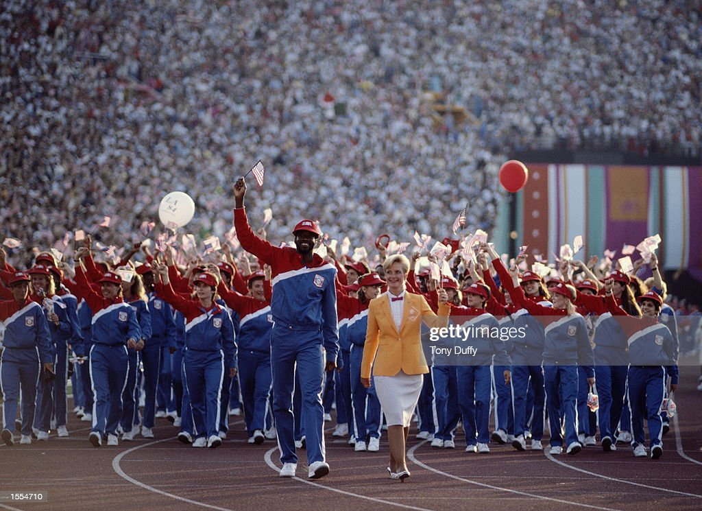 THE UNITED STATES OLYMPIC TEAM MARCH THROUGH THE STADIUM DURING THE OPENING CEREMONY OF THE 1984 LOS ANGELES OLYMPICS