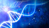 glass DNA molecule over blue abstract background