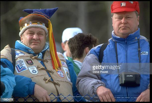 SPECTATORS AT THE CANMORE NORDIC CENTRE FOR THE 1988 CALGARY WINTER OLYMPIC GAMES IN CANADA