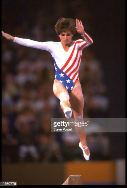 MARY LOU RETTON OF USA COMPETES ON THE BALANCE BEAM ON HER WAY TO THE GOLD MEDAL IN THE INDIVIDUAL ALLAROUND GYMNASTICS AT THE 1984 LOS ANGELES...