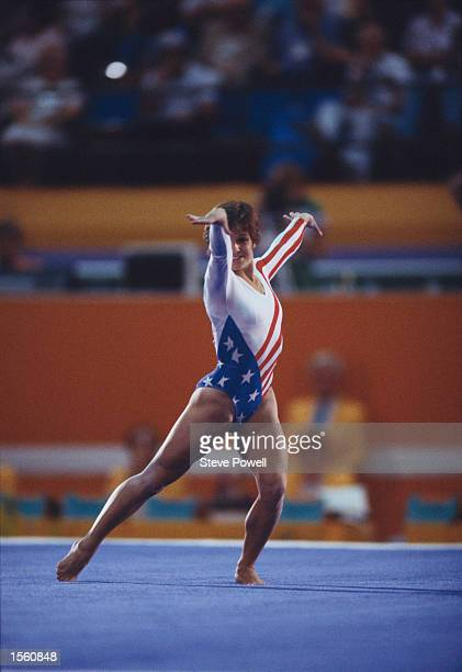 MARY LOU RETTON OF THE UNITED STATES PERFORMS HER ROUTINE DURING THE FLOOR EXERCISES EVENT AT THE 1984 LOS ANGELES OLYMPICS RETTON FINISHED IN THIRD...