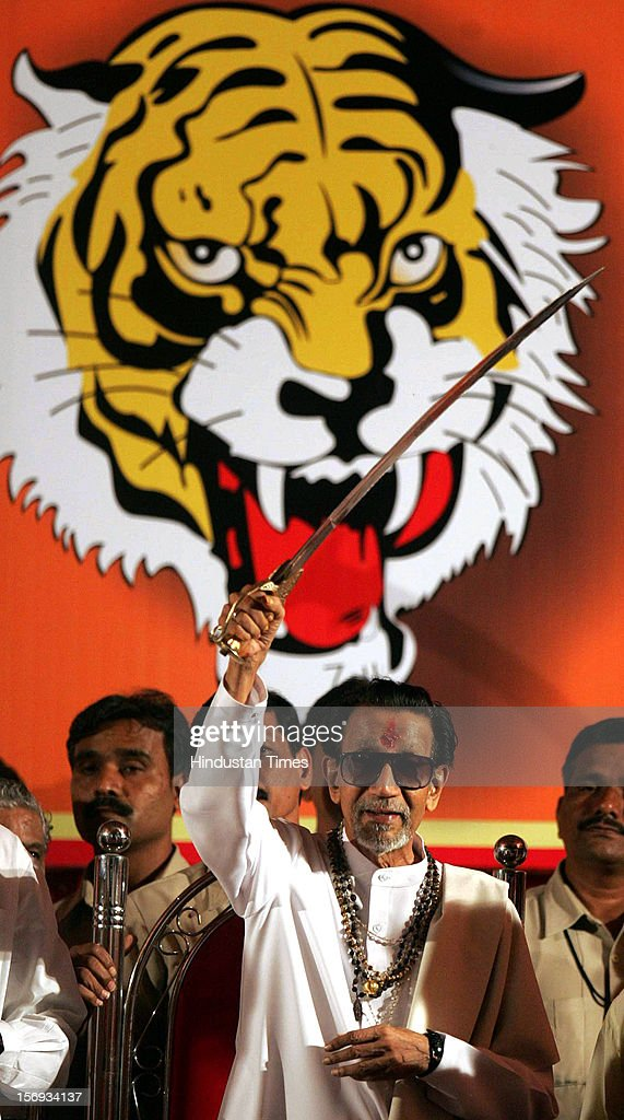 SHIV SENA SUPREMO BAL THACKREY DISPLAYS SWORD AT SHIV SENA'S DASSERA RALLY AT SHIVAJI PARK ON WEDNESDAY ON OCTOBER 12, 2005 IN MUMBAI, INDIA.