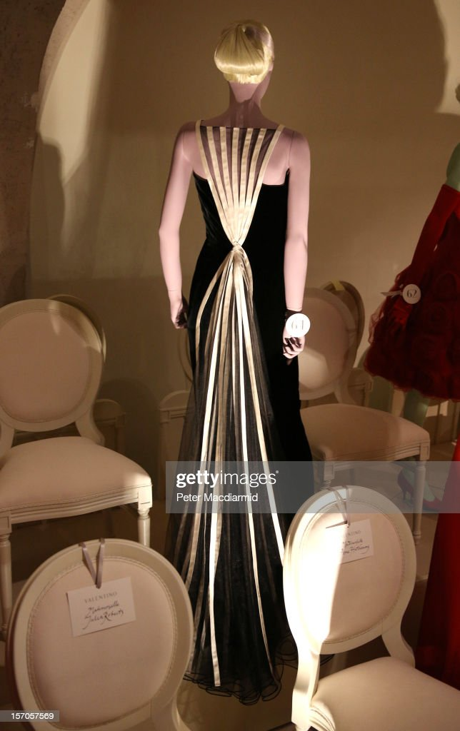 A 1992 black velvet evening gown worn by Julia Roberts for Oscars night is displayed at the 'Valentino: Master of Couture' exhibition at Somerset House on November 28, 2012 in London, United Kingdom. Celebrating the life and work of the Italian master couturier, the show features over 130 hand crafted designs worn by Hollywood icons and Royalty. The exhibition runs from November 29, 2012 - March 3, 2013.