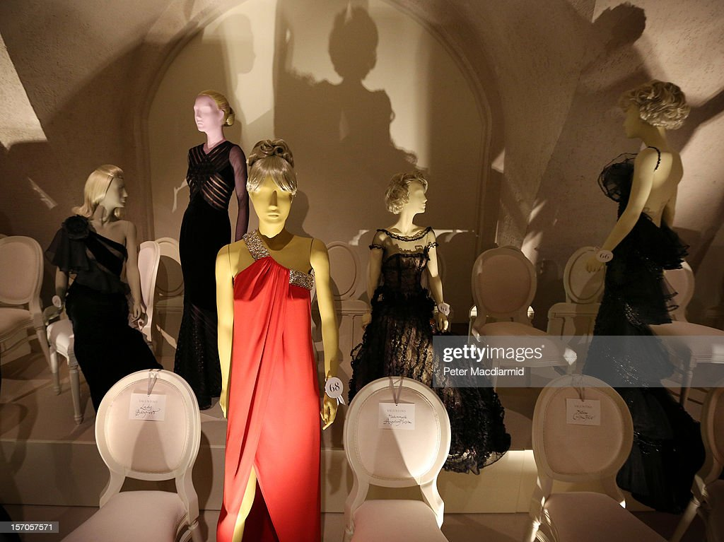 Dresses are shown in a catwalk display at the 'Valentino: Master of Couture' exhibition at Somerset House on November 28, 2012 in London, United Kingdom. Celebrating the life and work of the Italian master couturier, the show features over 130 hand crafted designs worn by Hollywood icons and Royalty. The exhibition runs from November 29, 2012 - March 3, 2013.