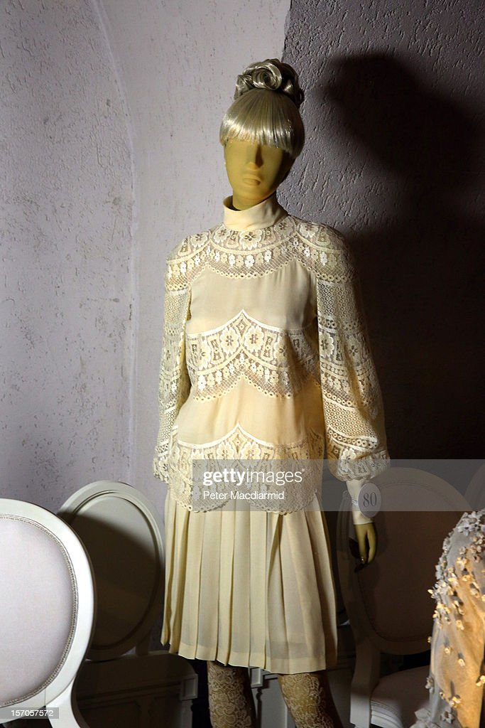 A wedding dress belonging to Jackie Onassis from 1968 is shown in a catwalk display at the 'Valentino: Master of Couture' exhibition at Somerset House on November 28, 2012 in London, United Kingdom. Celebrating the life and work of the Italian master couturier, the show features over 130 hand crafted designs worn by Hollywood icons and Royalty. The exhibition runs from November 29, 2012 - March 3, 2013.