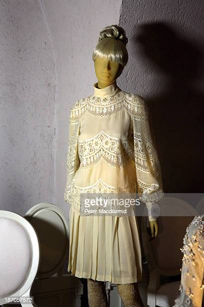 A wedding dress belonging to Jackie Onassis from 1968 is shown in a catwalk display at the 'Valentino Master of Couture' exhibition at Somerset House...
