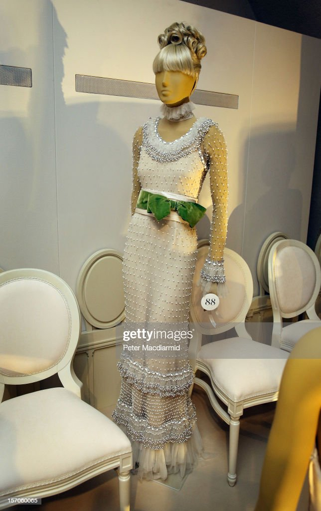 A white tulle beaded dress from 1969 worn by Audrey Hepburn is displayed at the 'Valentino: Master of Couture' exhibition at Somerset House on November 28, 2012 in London, United Kingdom. Celebrating the life and work of the Italian master couturier, the show features over 130 hand crafted designs worn by Hollywood icons and Royalty. The exhibition runs from November 29, 2012 - March 3, 2013.