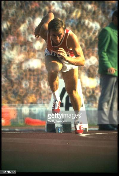 VALERI BORZOV OF THE SOVIET UNION POWERS OUT OF THE STARTING BLOCKS DURING THE MENS 200 METRES FINAL AT THE 1972 MUNICH OLYMPICS BORZOV WON THE GOLD...