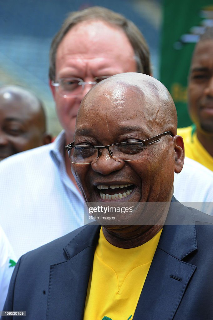 South Africa's President Jacob Zuma visits the South Africa national football team at Orlando Stadium on January 15, 2013 in Soweto, South Africa. Bafana Bafana players are in training for the 2013 Africa Cup of Nations (AFCON) international soccer tournament, January 19 - February 10, 2013.