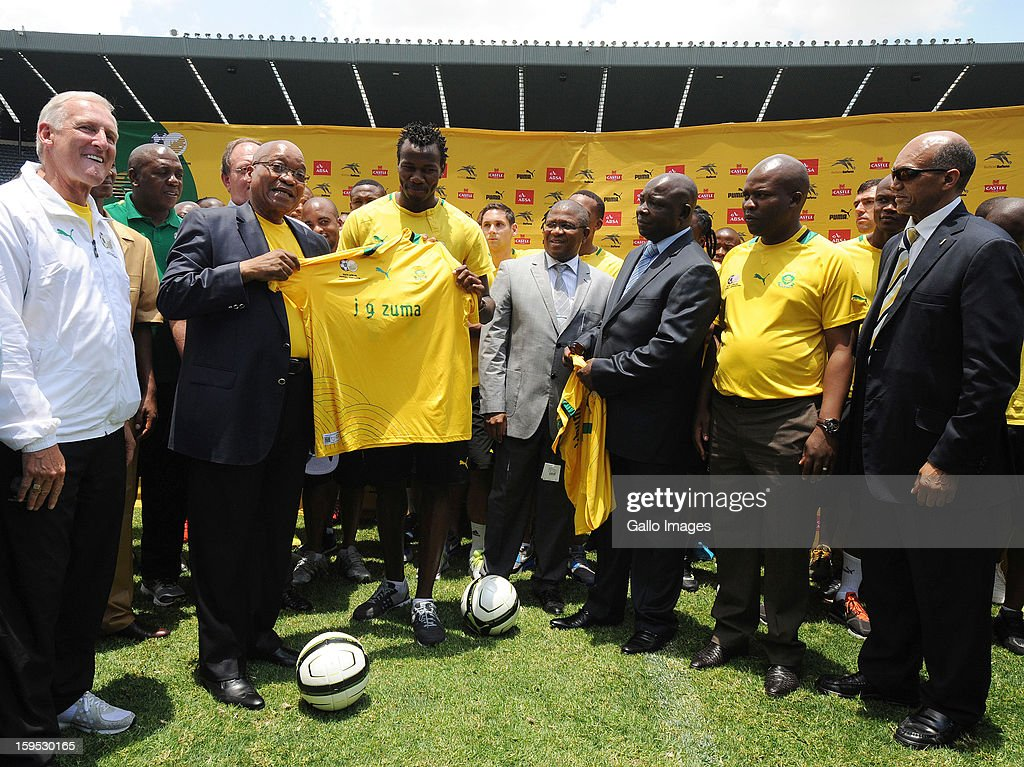 South Africa's President Jacob Zuma (front 2nd L) visits the South Africa national football team at Orlando Stadium on January 15, 2013 in Soweto, South Africa. Bafana Bafana players are in training for the 2013 Africa Cup of Nations (AFCON) international soccer tournament, January 19 - February 10, 2013.