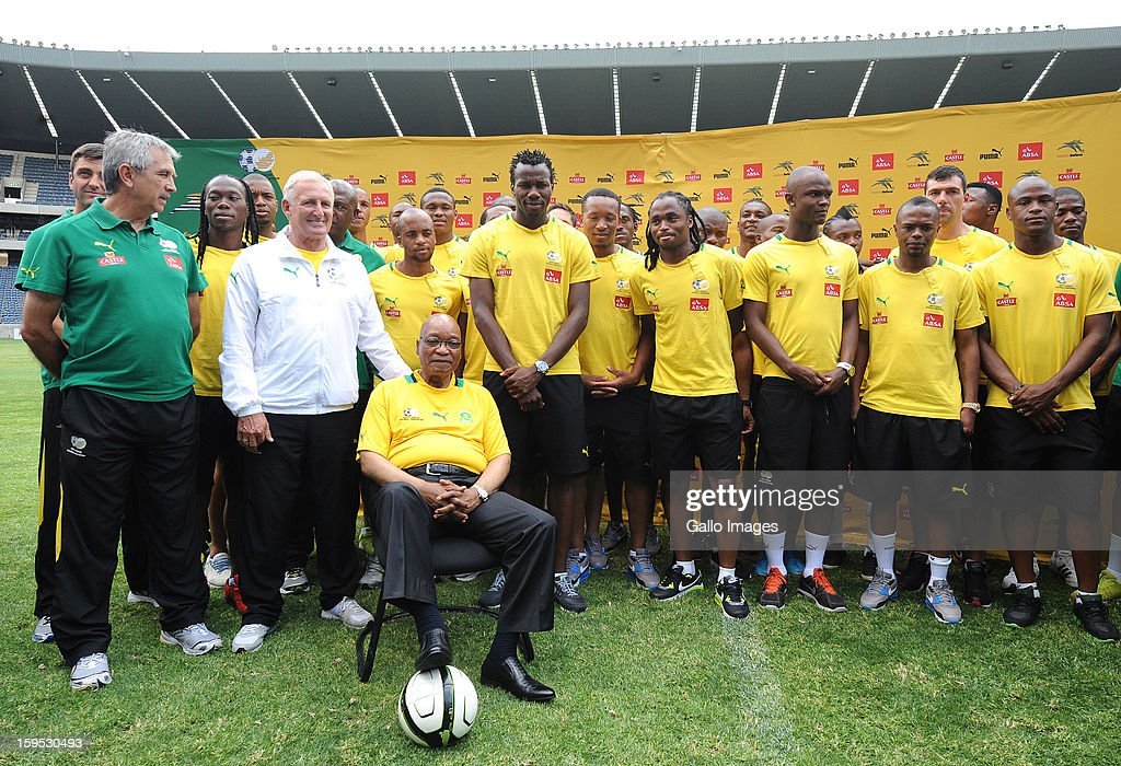 South Africa's President Jacob Zuma (front) visits the South Africa national football team at Orlando Stadium on January 15, 2013 in Soweto, South Africa. Bafana Bafana players are in training for the 2013 Africa Cup of Nations (AFCON) international soccer tournament, January 19 - February 10, 2013.