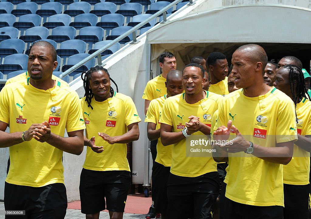 Bafana Bafana players applaud during a visit by South Africa's President Jacob Zuma (not pictured) at Orlando Stadium on January 15, 2013 in Soweto, South Africa. Players of South Africa's national football team are in training for the 2013 Africa Cup of Nations (AFCON) international soccer tournament, January 19 - February 10, 2013.