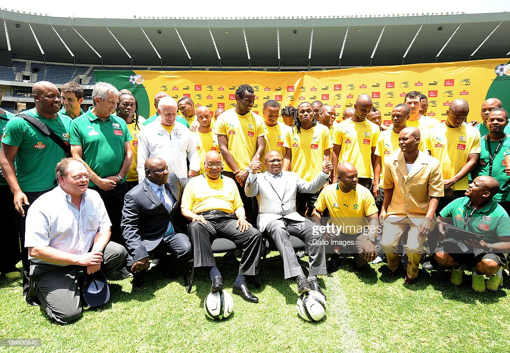 South Africa's President <a gi-track='captionPersonalityLinkClicked' href=/galleries/search?phrase=Jacob+Zuma&family=editorial&specificpeople=564982 ng-click='$event.stopPropagation()'>Jacob Zuma</a> (front row, 3rd L) visits the South Africa national football team at Orlando Stadium on January 15, 2013 in Soweto, South Africa. Bafana Bafana players are in training for the 2013 Africa Cup of Nations (AFCON) international soccer tournament, January 19 - February 10, 2013.