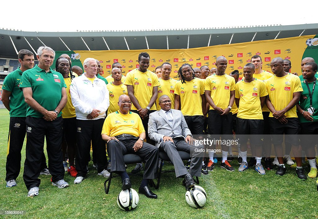 South Africa's President <a gi-track='captionPersonalityLinkClicked' href=/galleries/search?phrase=Jacob+Zuma&family=editorial&specificpeople=564982 ng-click='$event.stopPropagation()'>Jacob Zuma</a> (front L) visits the South Africa national football team at Orlando Stadium on January 15, 2013 in Soweto, South Africa. Bafana Bafana players are in training for the 2013 Africa Cup of Nations (AFCON) international soccer tournament, January 19 - February 10, 2013.