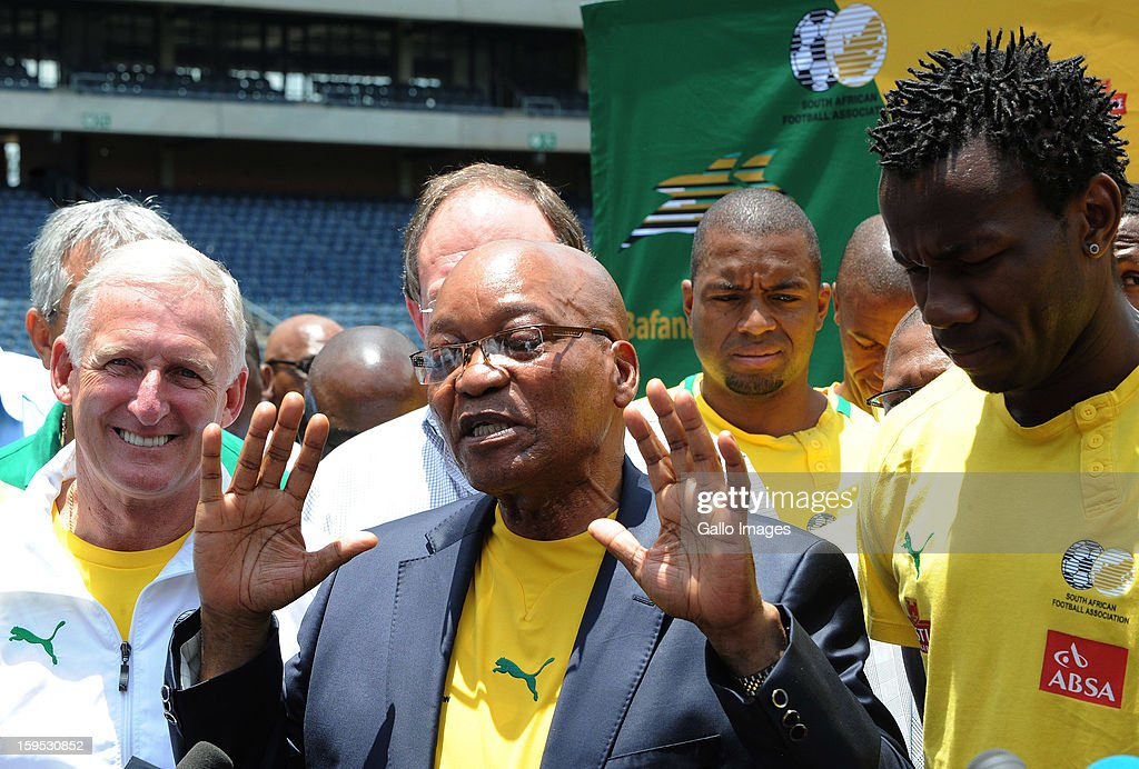 South Africa's President <a gi-track='captionPersonalityLinkClicked' href=/galleries/search?phrase=Jacob+Zuma&family=editorial&specificpeople=564982 ng-click='$event.stopPropagation()'>Jacob Zuma</a> visits the South Africa national football team at Orlando Stadium on January 15, 2013 in Soweto, South Africa. Bafana Bafana players are in training for the 2013 Africa Cup of Nations (AFCON) international soccer tournament, January 19 - February 10, 2013.
