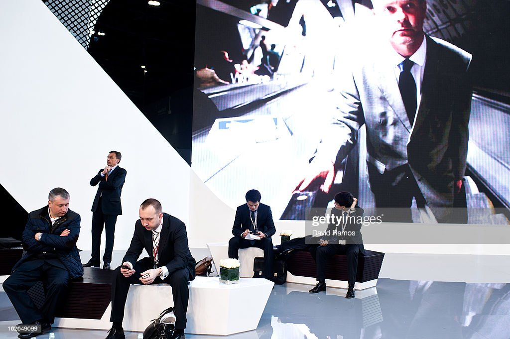Visitors rest at the Huwaei stand during the first day of the Mobile World Congress 2013 at the Fira Gran Via complex on February 25, 2013 in Barcelona, Spain. The annual Mobile World Congress hosts some of the world's largest communication companies, with many unveiling their latest phones and gadgets. The show runs from February 25 - February 28.