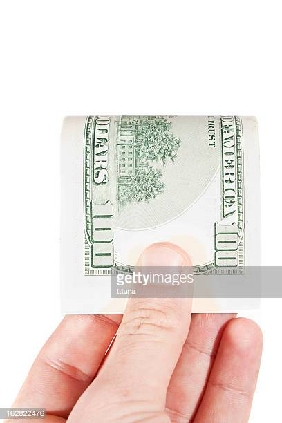 hand hold money, cut out on white background