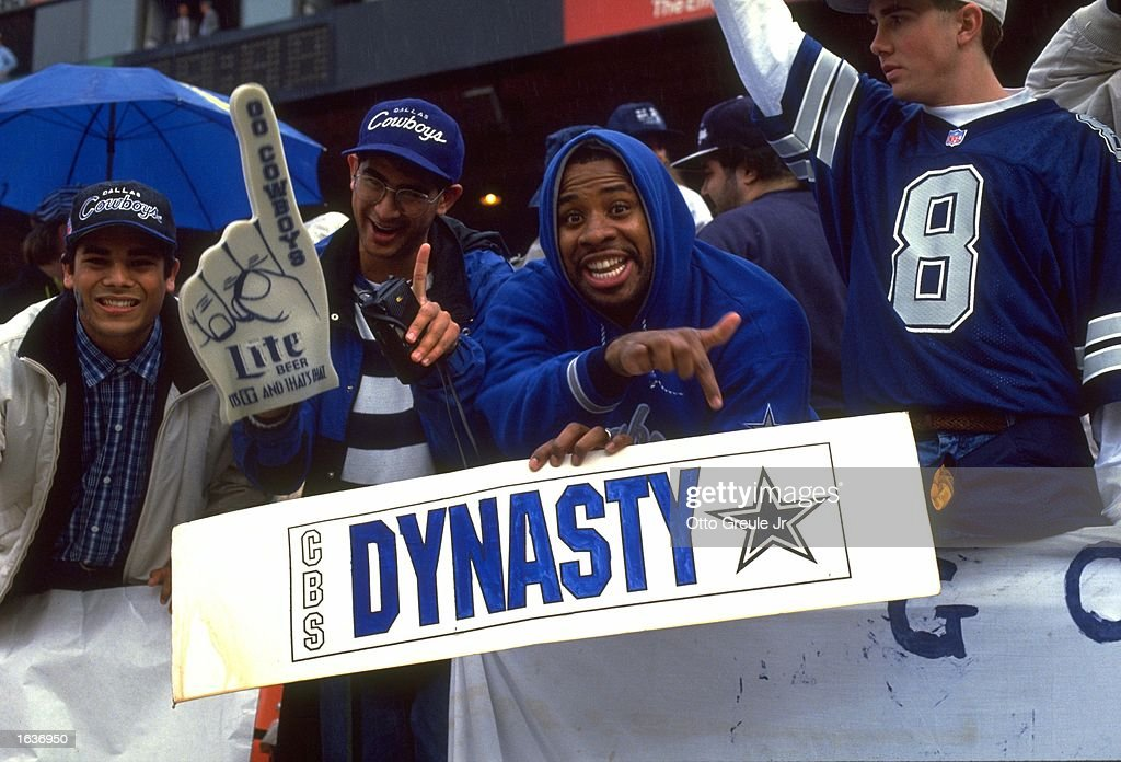DALLAS COWBOYS FANS SUPPORT THEIR TEAM BY HOLDING UP A 'DYNASTY' POSTER DURING THE COWBOYS 3020 NFC CHAMPIONSHIP GAME WIN OVER THE SAN FRANCISCO...