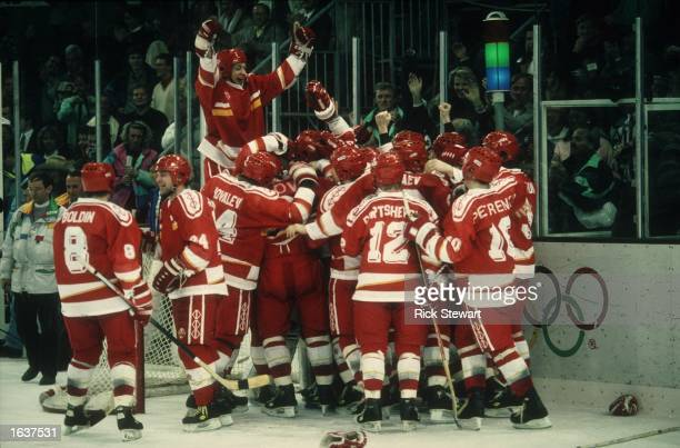 THE UNIFIED TEAM ICE HOCKEY TEAM CELEBRATE THEIR 3 1 VICTORY OVER CANADA IN THE ICE HOCKEY FINAL AT THE 1992 ALBERTVILLE WINTER OLYMPICS