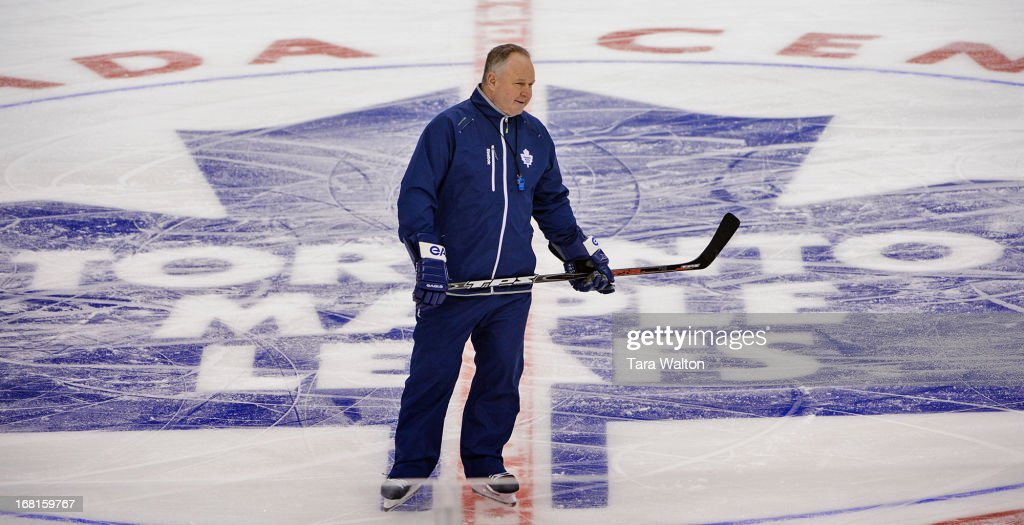 TORONTO, ON - Toronto Maple Leafs coach Randy Carlyle at centre ice during Monday's afternoon practice as the Leafs prepare for game three against the Boston Bruins in round one of the NHL playoffs, MAY 5 - May 5, 2013.