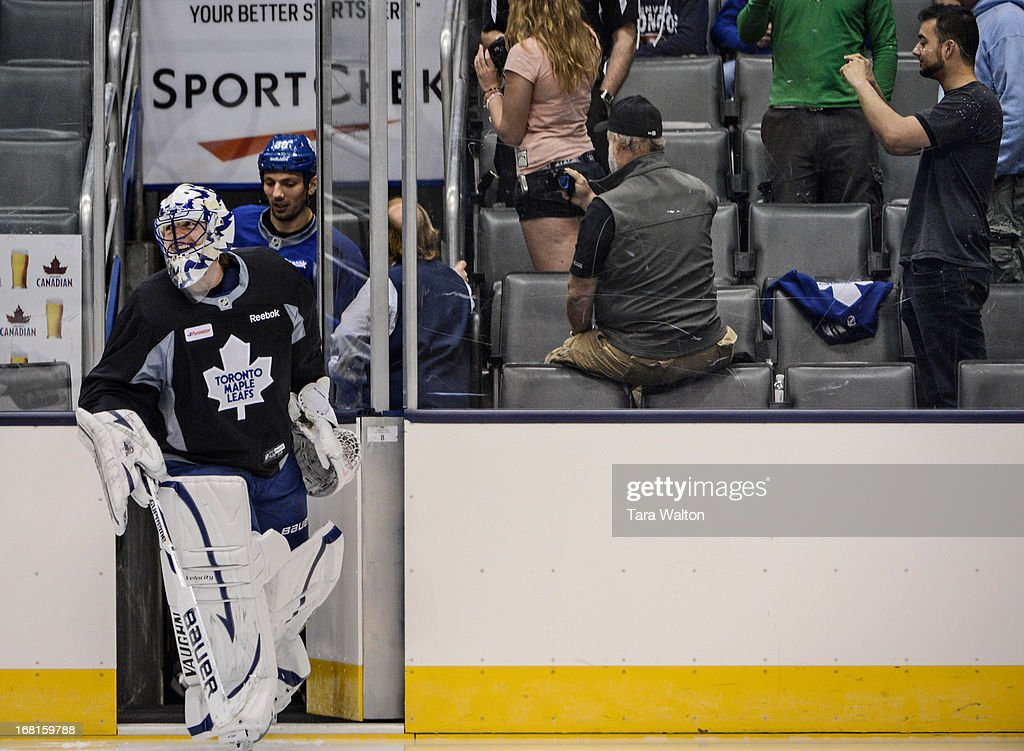 TORONTO, ON - Toronto Maple Leafs goalie Ben Scrivens takes to the ice during Monday's afternoon practice as the Leafs prepare for game three against the Boston Bruins in round one of the NHL playoffs, MAY 5 - May 5, 2013.`