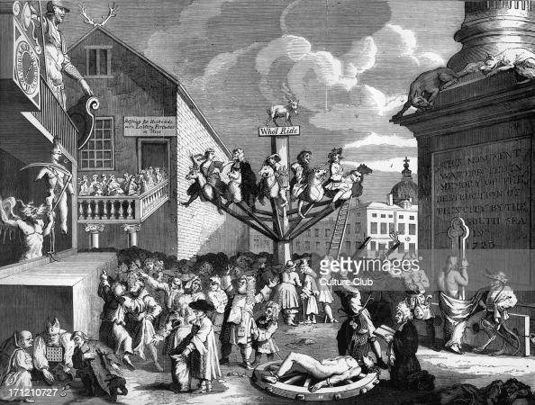 The South Sea Bubble An Allegory Engraving by William Hogarth London crowds in wake of the South Sea Bubble financial crisis A goat presides over a...