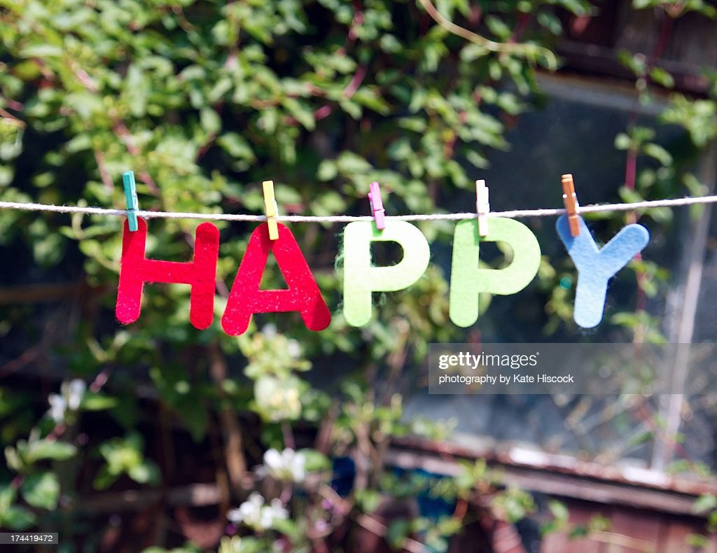 HAPPY (the word) : Stock Photo