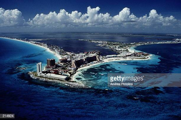 AERIAL OF RESORTS IN CANCUN, MEXICO