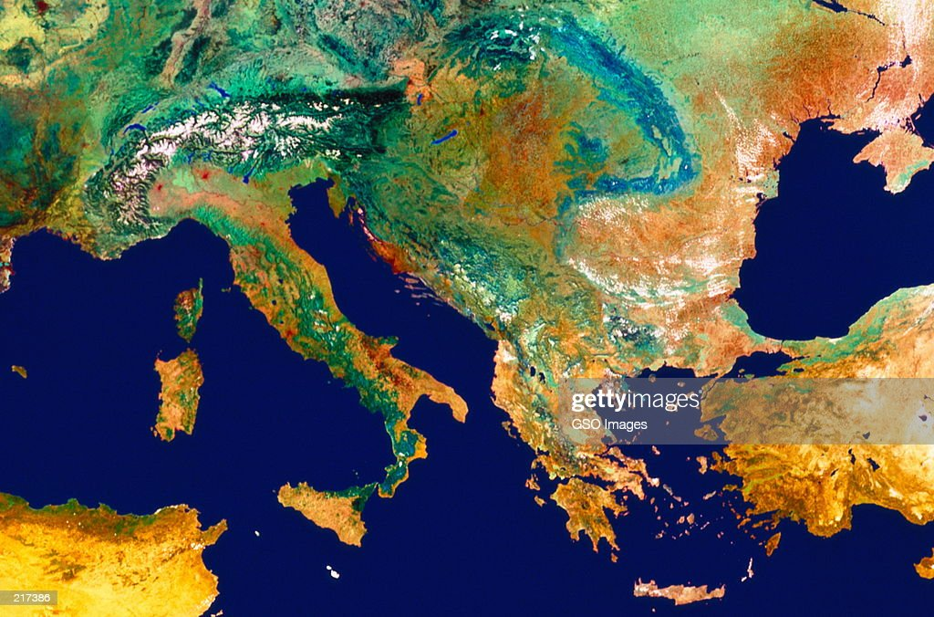 SATELLITE MAP OF ITALY AND SOUTHERN EUROPE
