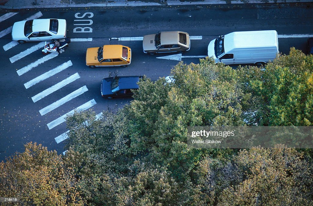 AERIAL VIEW OF CARS STOPPED IN FRANCE : Stock Photo