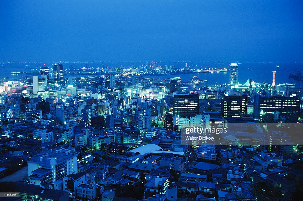 OVERVIEW OF CITY AT NIGHT IN KOBE, JAPAN : Stock Photo
