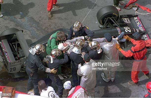 KARL WENDLINGER OF THE SAUBER TEAM IS LIFTED UNCONSCIOUS FROM HIS CAR AFTER CRASHING DURING PRACTICE FOR SUNDAY''S MONACO FORMULA ONE GRAND PRIX IN...