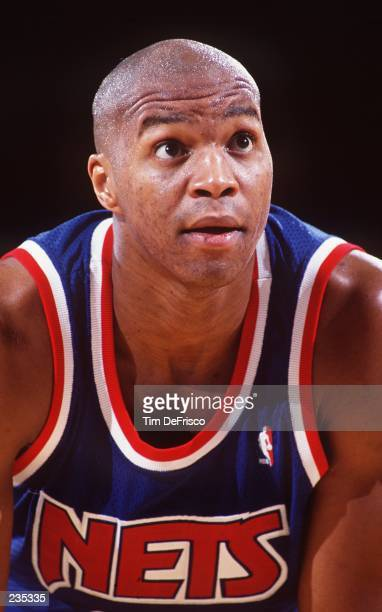 DERRICK COLEMAN FORWARD FOR THE NEW JERSEY NETS DURING A GAME AGAINST THE NUGGETS