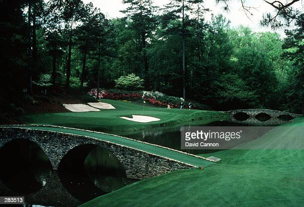 A SCENIC VIEW OF THE INFAMOUS AMEN CORNER OF THE PAR 3 12TH HOLE DURING THE 1992 MASTERS TOURNAMENT AT THE AUGUSTA NATIONAL GOLF COURSE IN AUGUSTA...