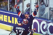 RAY FERRARO CELEBRATES WITH YAN KAMINSKY AFTER FERRARO''S GOAL FOR THE NEW YORK ISLANDERS AGAINST THE QUEBEC NORDIQUES AT THE QUEBEC COLISEE IN...