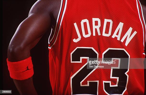 A REAR VIEW OF MICHAEL JORDAN OF THE CHICAGO BULLS