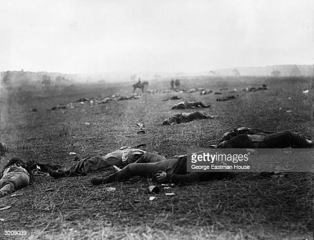 A view of soldiers' bloated corpses laying on the battlefield after the Battle of Gettysburg which took place from July 1 to July 3 Pennsylvania...
