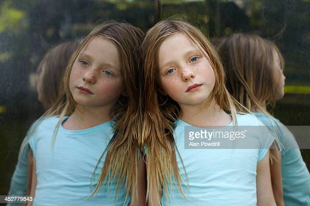 YOUNG GIRL DOUBLE MIRROR PORTRAIT