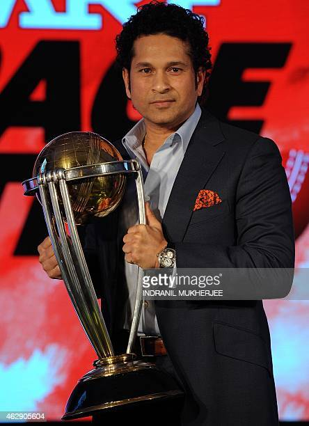 Former Indian cricketer and brand ambassador of the International Cricket Council Cricket World Cup 2015 Sachin Tendulkar poses for a photograph with...