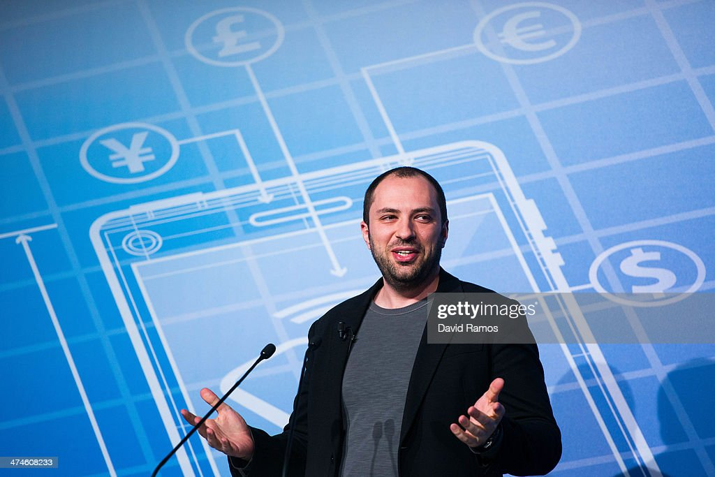 Whatsapp CEO Jan Koum during a Keynote conference as part of the first day of the Mobile World Congress 2014 at the Fira Gran Via complex on February...