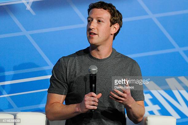 CoFounder Chairman and CEO of Facebook Mark Zuckerberg speaks during his keynote conference as part of the first day of the Mobile World Congress...